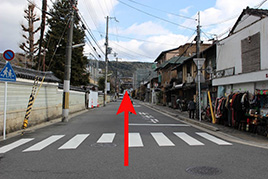 Go straight for about 300 meters to the East on YASAKA street.